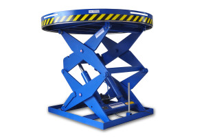 MSSAP-40-20/16: Double-scissor lift table in painted steel. Maximum load: 4.000 Kg. Raised height: 1.900 mm. Round top plataform.