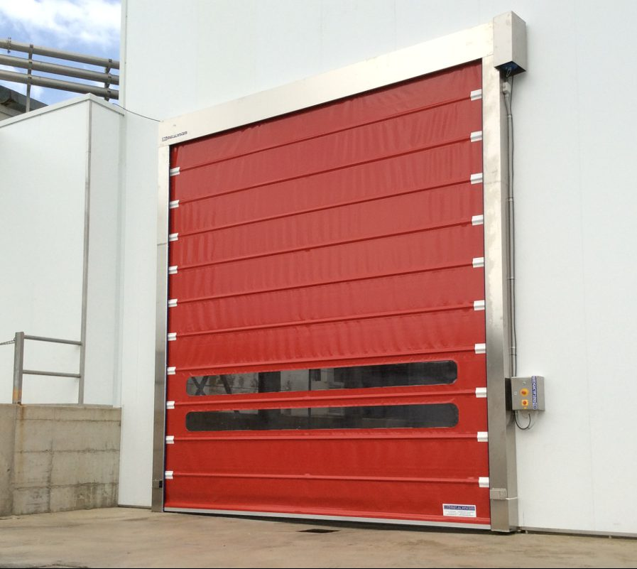 Foldsystem high speed door in stainless steel.