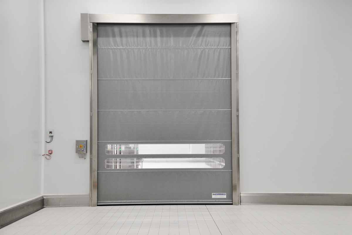 Stainless steel Quicksystem® door in a meat industry.
