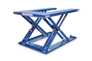 MSE-12-11,5/12U. Low-profile lift table U-shaped fully built in painted steel, maximum load: 1200 Kg. Raised height: 1.150 mm, closed height: 100 mm, top platform dimensions 1200 mm x 1700 mm.