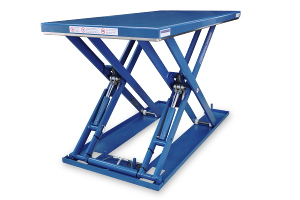 MSE-12-14/10. Low-profile lift table rectangular shape fully built in painted steel. maximum load: 1200 Kg. Raised height: 1.400 mm, closed height: 110 mm, top platform dimensions 1000 mm x 2000 mm.