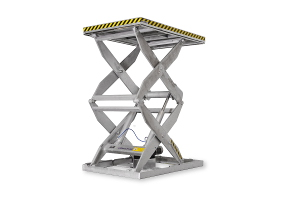 MSS-TG-70-27/20: double-scissor lift table in galvanised steel. Top platform dimensions: 2.000 x 3.000mm, máximum load: 7.000kg, raised height: 2.700mm.