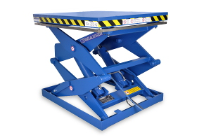 MSSAP-20-15/13: double-scissor lift table in painted steel. Máximum load: 2.000 Kg, raised height: 1.300 mm, top platform dimensions: 1.000 x 1.200 mm.