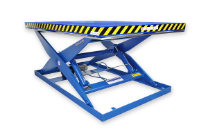 MSAP 30-20-18: single-scissor lift table in painted steel. Maximum load: 3000 Kg. Raised height: 2000 mm. Top platform: 2000mm. x 3200 mm.