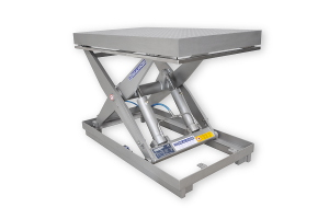 MSI 20-09-08: single-scissor lift table in 100% stainless steel, with teardrop anti-slip top platform. Maximum load: 2000 Kg. Raised height: 900 mm, Top plataform: 850 mm width x 1500 mm height.