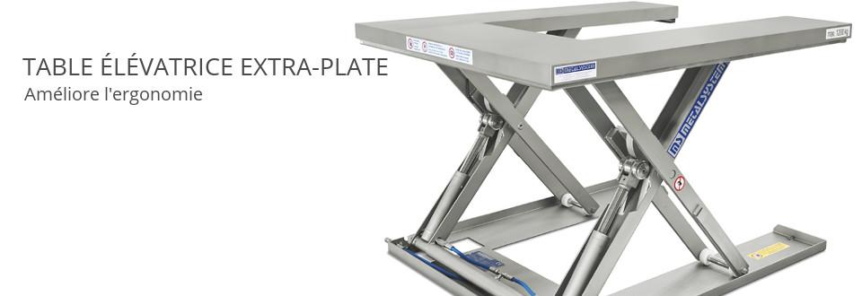 Table élévatrice extra-plate. Améliore l'ergonomie.